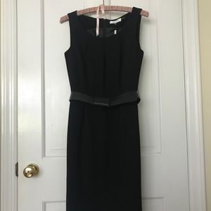 Calvin Klein black belted midi sheath dress